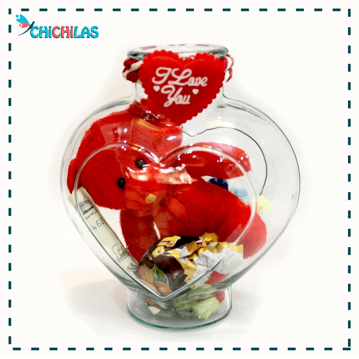چیچیلاس - شیشه قلبی عروسکی ولنتاین - ولنتاین 98 - خرید عمده شکلات ولنتاین - کادو ولنتاین - هدیه ولنتاین - کادو برای ولنتاین
