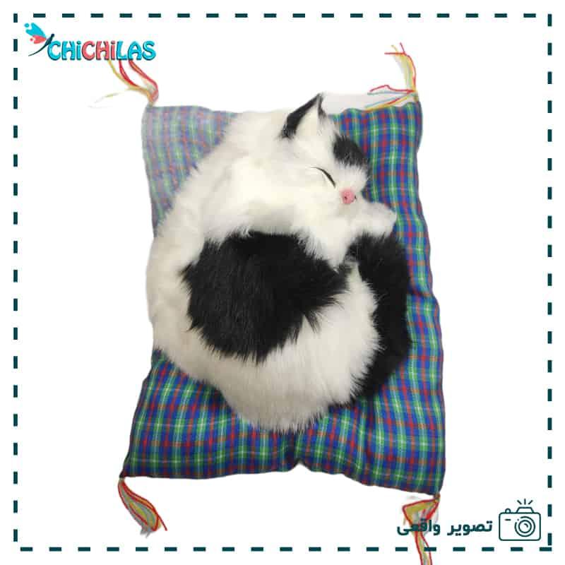 عروسک گربه طبیعی موزیکال - عروسک گربه پشمالو خوابیده